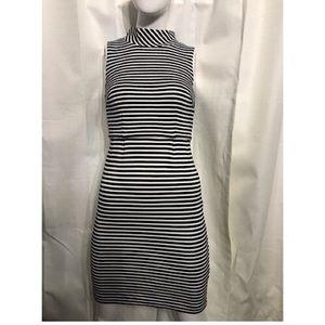 Boden Navy White Striped mock Turtle bodycon dress